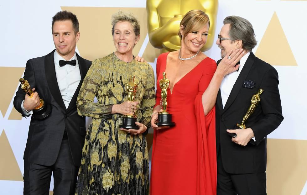 De izquierda a derecha, Sam Rockwell, Frances McDormand, Allison Janney y Gary Oldman con sus respectivos premios.
