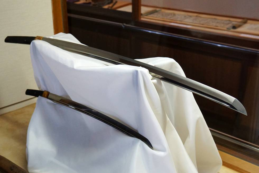 Katana y Wakizashi (espada corta) de Oishi Kuranosuke en el museo de Ako.