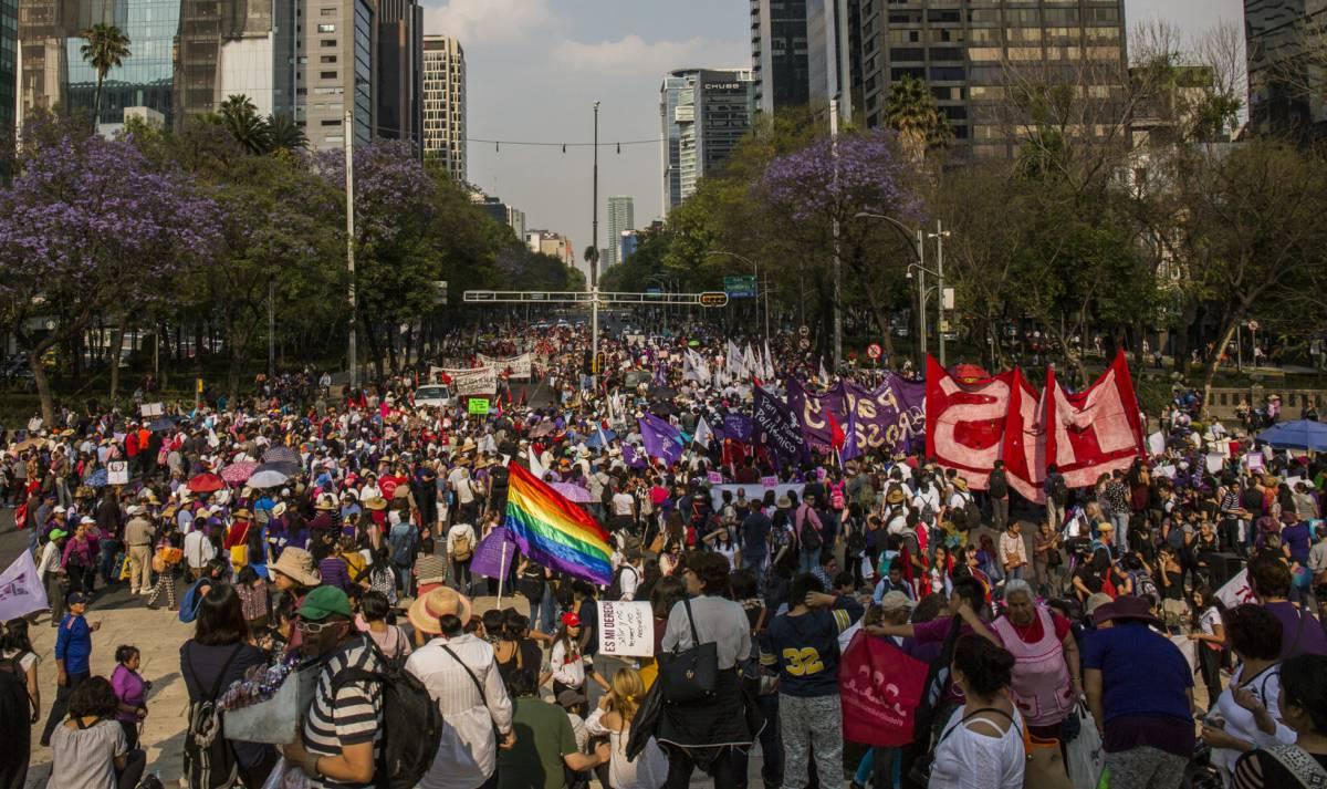 La manifestación por el 8 de marzo en Ciudad de México.