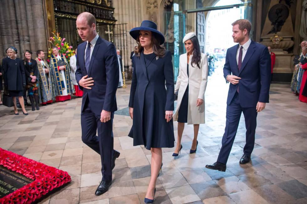 El príncipe Guillermo y Kate Middleton junto a Meghan Markle y Enrique de Inglaterra este lunes en el Día de la Commonwealth en Londres.