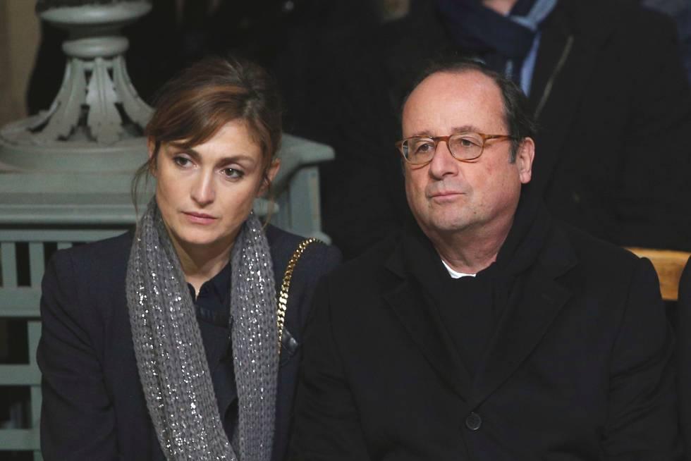 François Hollande y Julie Gayet en el funeral de Johnny Hallyday en París.