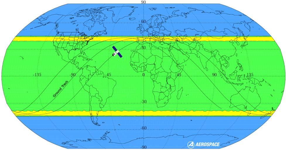 Órbitas posibles de 'Tiangong-1'. En azul, el área con zero riesgo de caída. La mayor probabilidad de reentrada se da en las franjas amarillas.