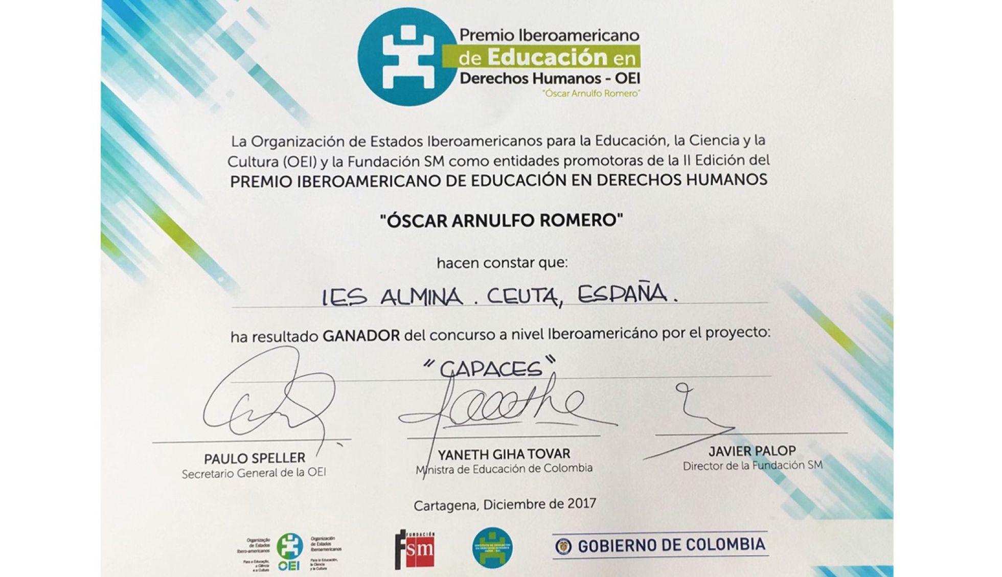 """Premio de Educación en Derechos Humanos """"Óscar Arnulfo Romero"""" (OEA)"""
