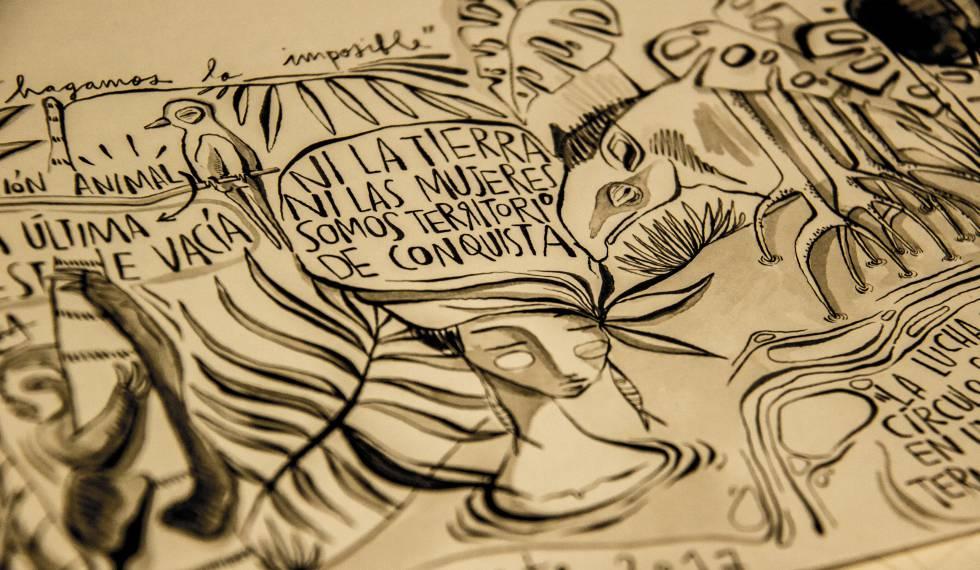 """""""Ni la Tierra, ni las Mujeres somos Territorios de Conquista"""". Ilustración de La Suerte."""