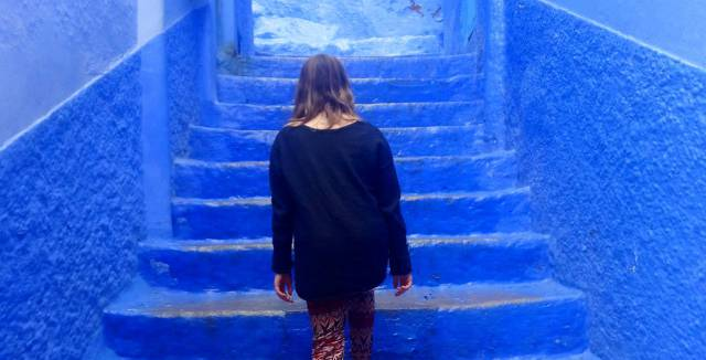 Feeling blue: Eden on a recent trip to Morocco.