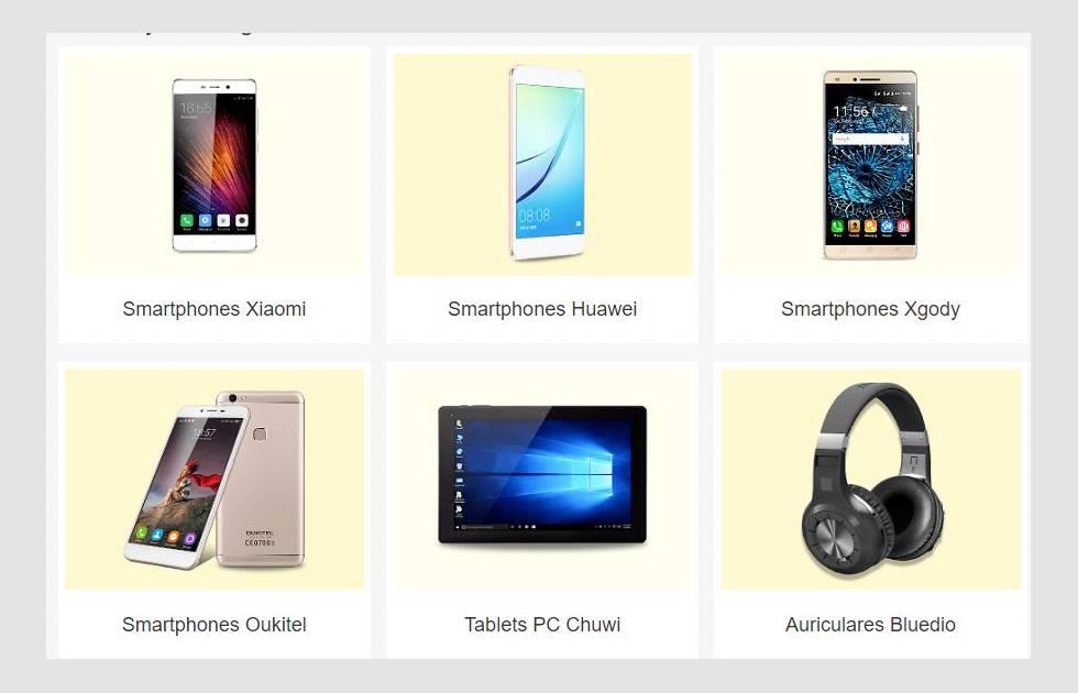 Página de venta de productos tecnológicos de marcas chinas en eBay.es.