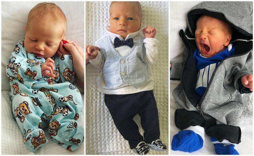 Tres de las imágenes de Leone, el primer hijo de Chiara Ferragni, que ha compartido su madre en Instagram.