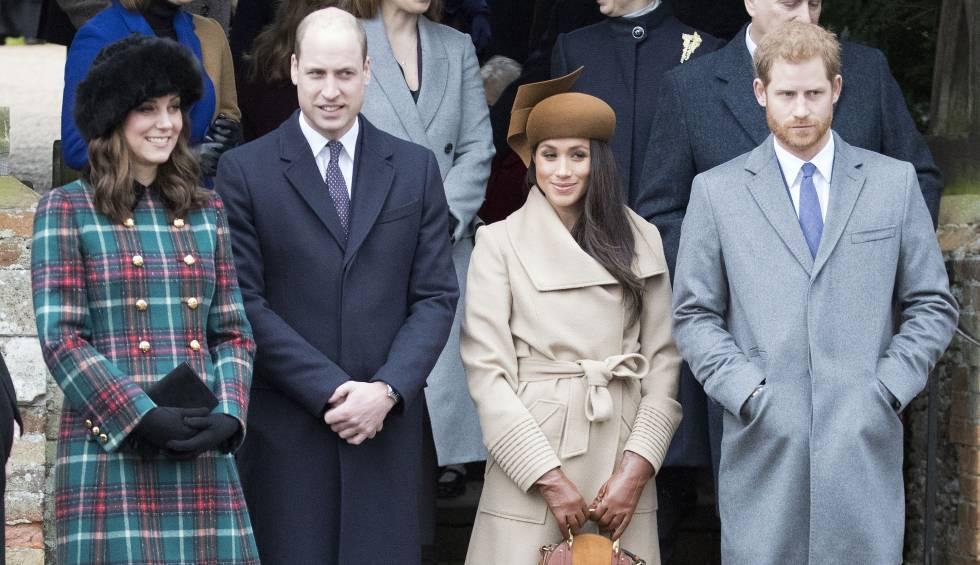 Kate Middleton, Guillermo de Inglaterra, con Meghan Markle y Enrique de Inglaterra.