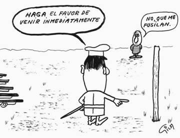 Una de las viñetas humorísticas que dibujaba Gila.