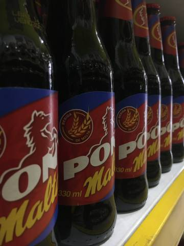Pony Malta, a typical pasteurized non-alcoholic Colombian malt beverage.