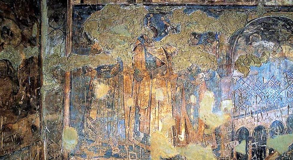 Fresco de 'Los seis reyes', en el castillo de Qusayr Amra (Jordania). Entre los seis monarcas figura Rodrigo, el último rey Visigodo.