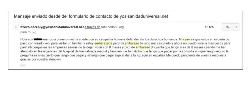 Correo electrónico recibido en el buzón de Yo Sí Sanidad Universal por parte de una mujer marroquí embarazada.