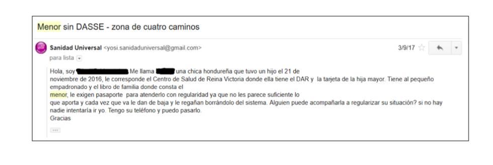 Correo electrónico cuya remitente es una mujer que asegura tener problemas para que su hijo sea atendido en el Servicio Madrileño de Salud.