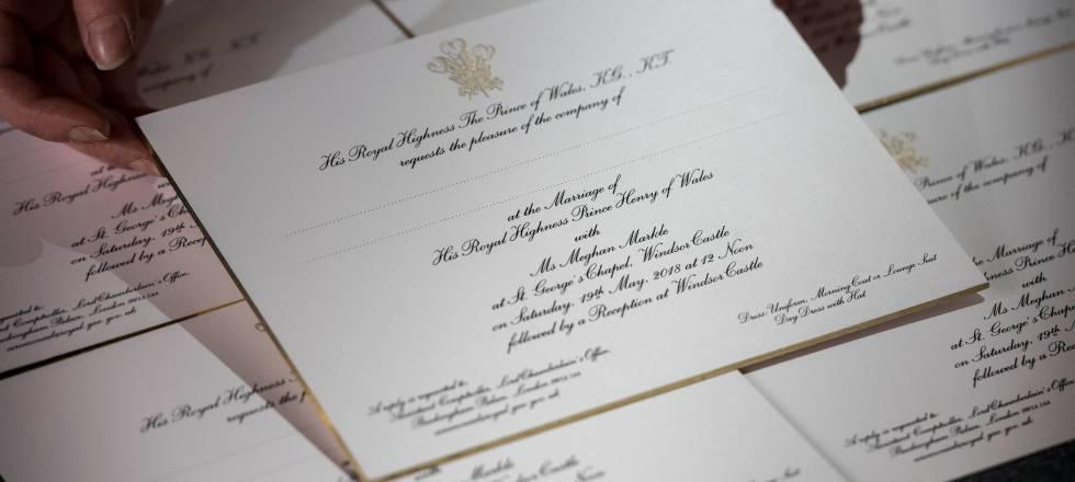 Invitaciones para la boda de Enrique de Inglaterra y Meghan Markle.