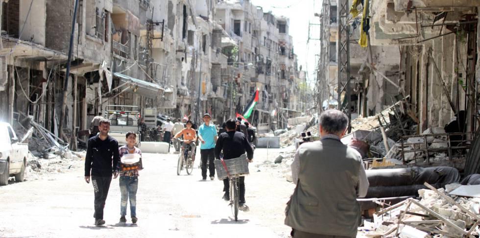 Aspecto de la ciudad de Zamalka, Ghouta Oriental (Siria), el pasado 8 de abril.