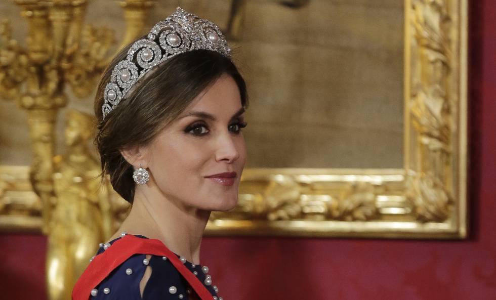 La reina Letizia, este lunes durante la cena de gala en el Palacio Real.