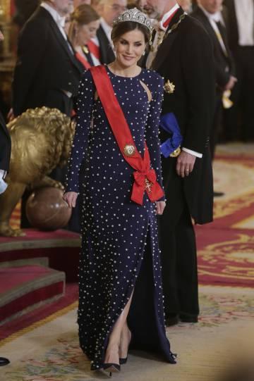 La reina Letizia, este lunes en la cena de gala en el Palacio Real.