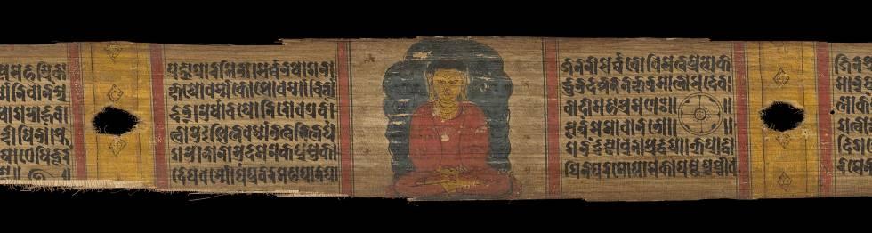 Tabla escrita en sánscrito, una de las lenguas indoeuropeas más antiguas.