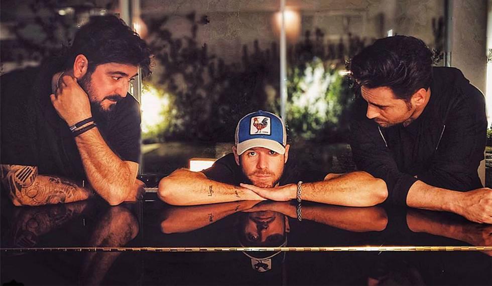 De izquierda a derecha, Antonio Orozco, Pablo López y David Bustamante.