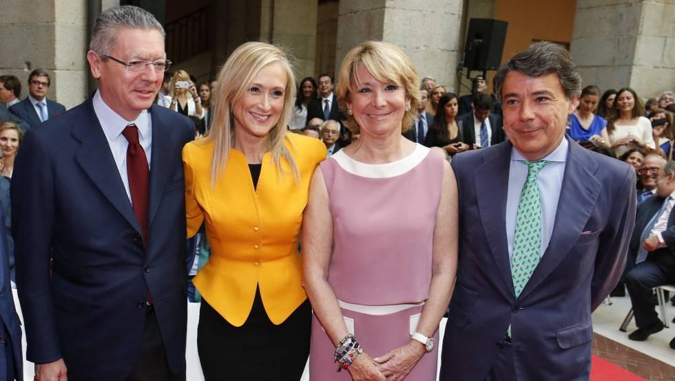 Alberto Ruiz-Gallardón, Cristina Cifuentes, Esperanza Aguirre e Ignacio González en 2015.