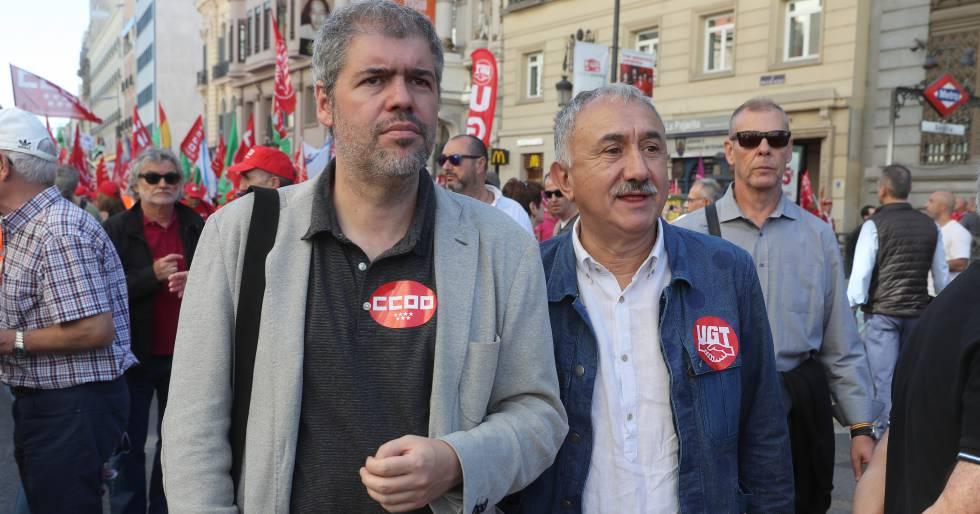 Unai Sordo (CC OO) y José Álvarez (UGT)