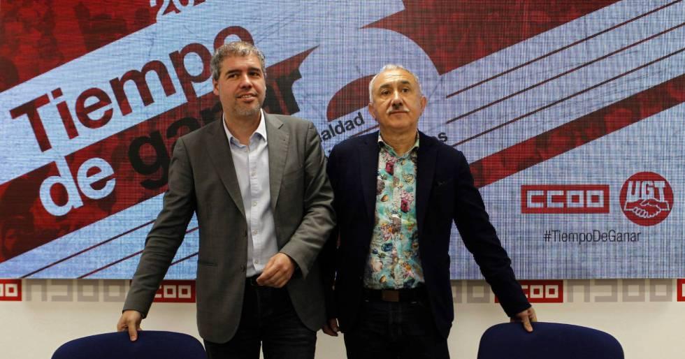 Labor union leaders Unai Sordo and Pepe Álvarez.