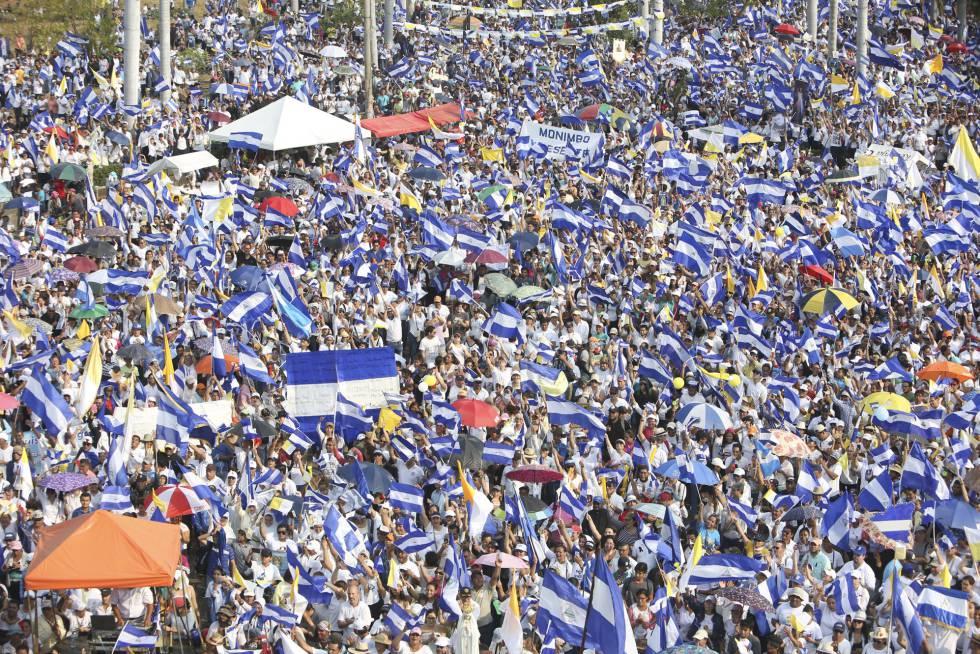 Manifestación multitudinaria del pasado día 28 en Managua contra el gobierno de Daniel Ortega.