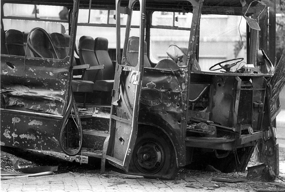 ETA attack against a Civil Guard vehicle in Madrid's República Argentina square in 1985.