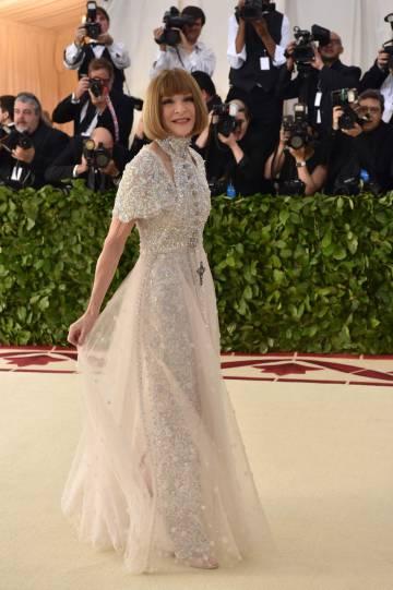 La editora jefe de Vogue, Anna Wintour, en su llegada a la Gala Met 2018.