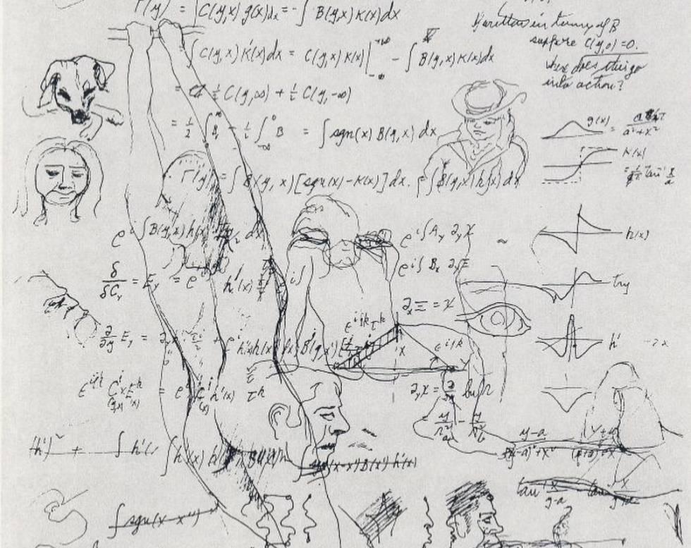 Ecuaciones y dibujos de Richard Feynman.