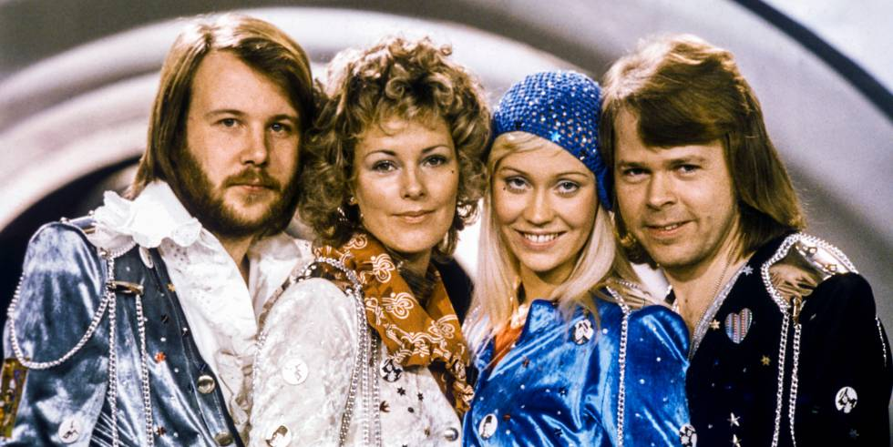 Componentes del grupo ABBA después de ganar Eurovisión en 1974. De izquierda a derecha: Benny Andersson, Anni-Frid Lyngstad, Agnetha Faltskog y Bjorn Ulvaeus
