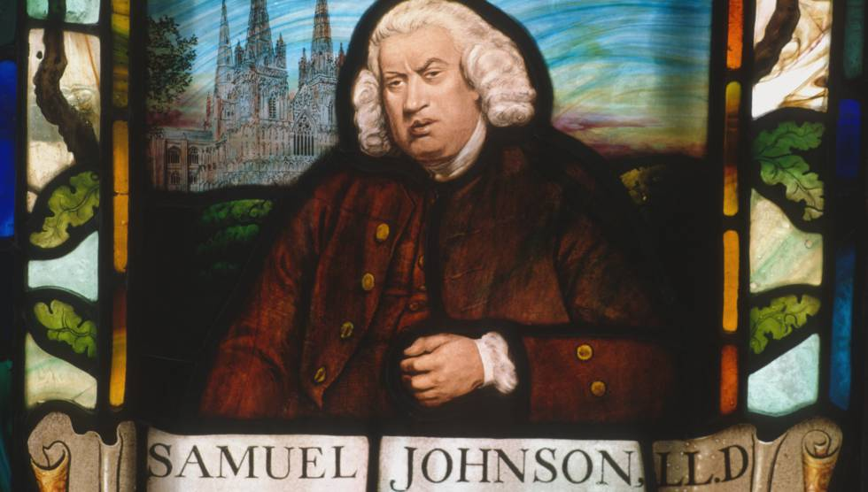 Un retrato de Samuel Johnson en una vidriera en Gough Square, Londres.