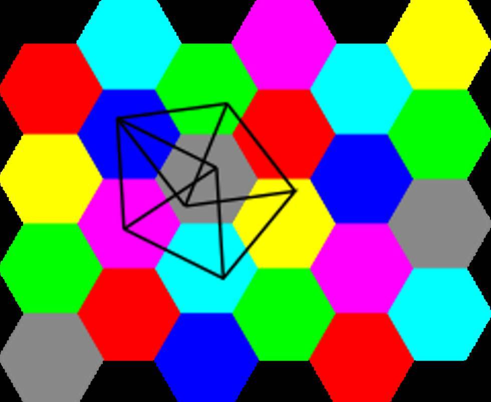 Los puntos del huso de Moser son los vértices de este dibujo y se señalan con un segmento aquellos que están a distancia 1 entre sí