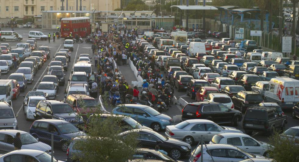 Traffic jams at the border in 2016.