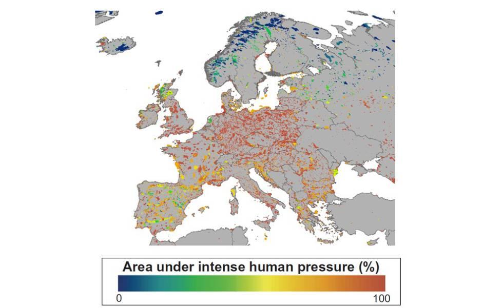 Mapa de las áreas protegidas de Europa con mayor (rojo) o menor (azul) huella humana.