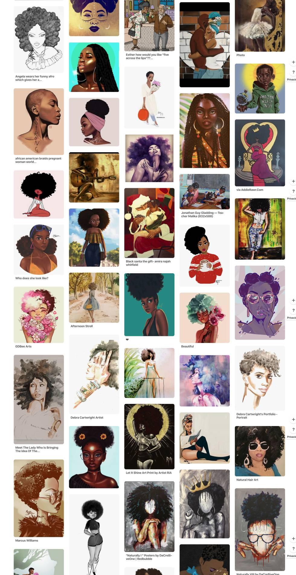 En Pinterest la temática del estilo afro es muy habitual, Black Afro Art es el nombre de este tablero.