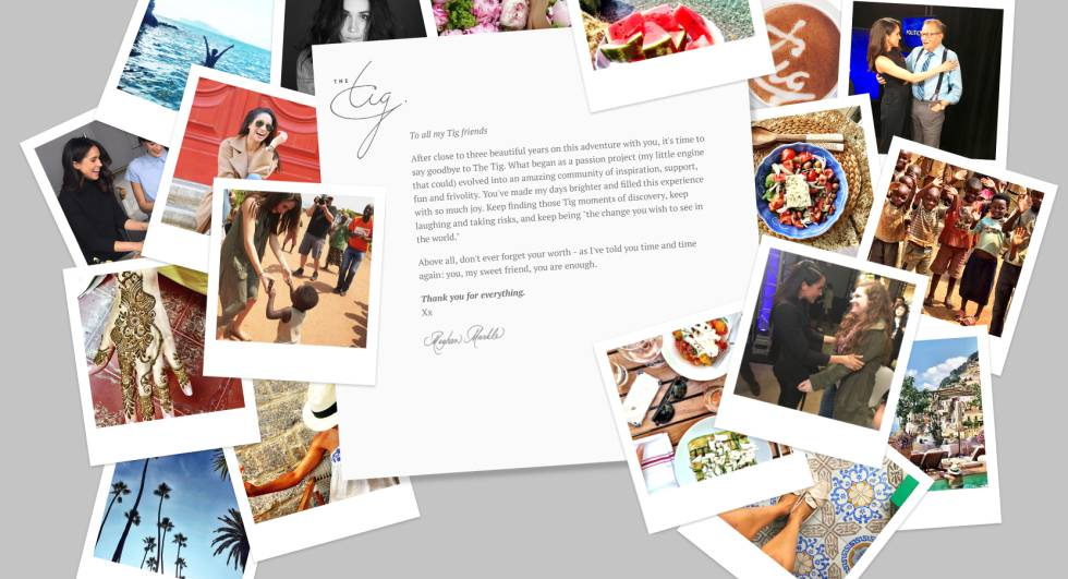 La carta de despedida de Meghan Markle en su blog The Tig, junto a algunas fotos personales.