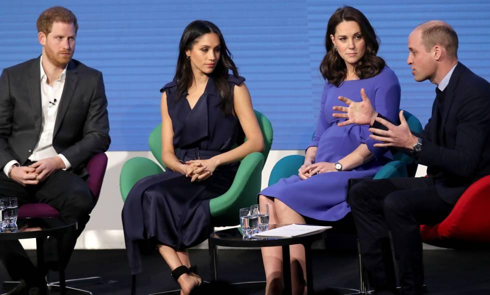 Enrique de Inglaterra, Meghan Markle, Kate Middleton y Guillermo de Inglaterra el 28 de febrero de 2018