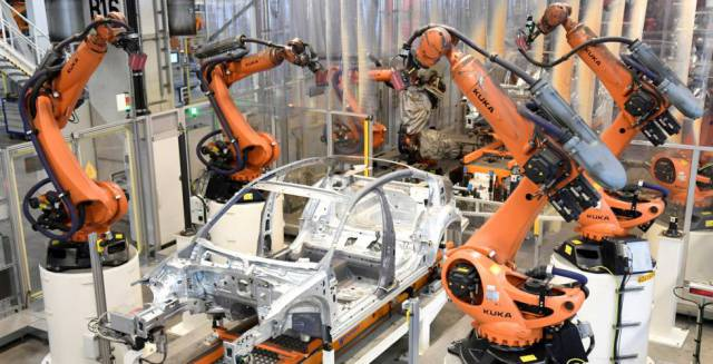 Robots on a production line in Germany.