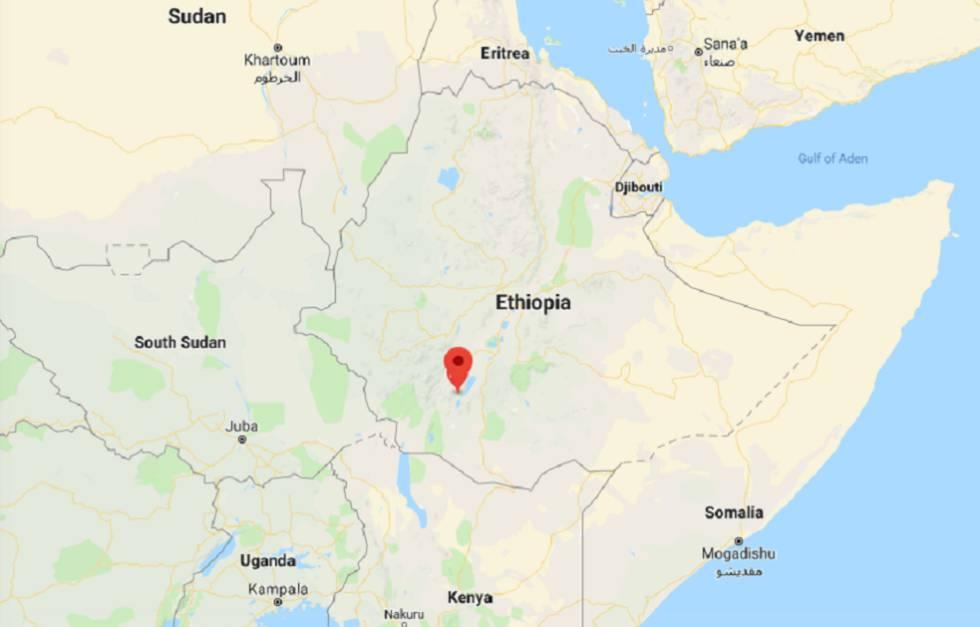 Mapa de África. El símbolo rojo muestra la ubicación de Arba Minch.