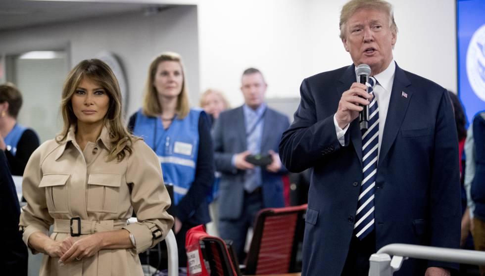 Melania Trump, junto al presidente de los Estados Unidos, el pasado miércoles en su reaparición tras ser intervenida quirúrgicamente hace un mes.