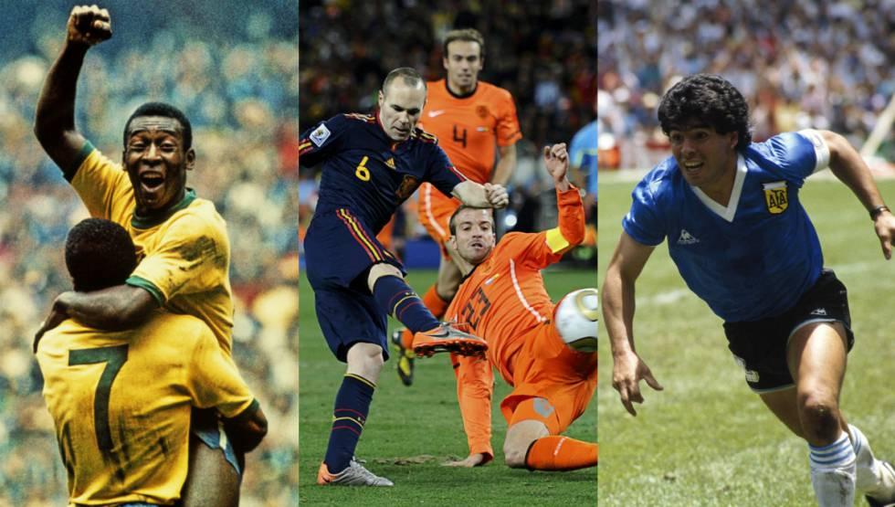 Pelé en el Mundial de México de 1970, Iniesta en 2010 y Maradona en México 86 son algunos de los jugadores que vistieran camisetas de leyenda.
