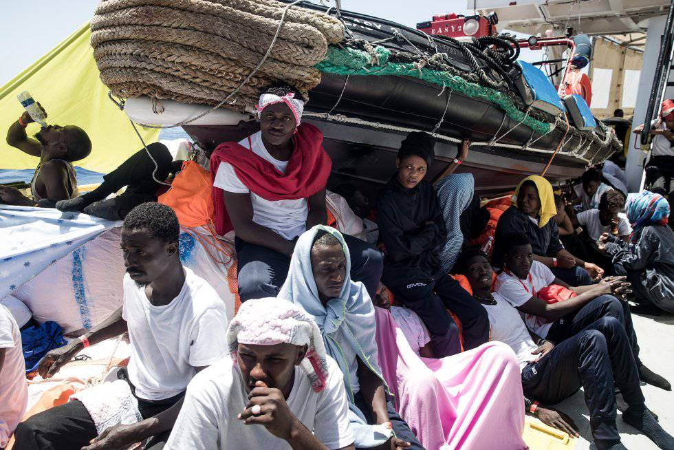 Migrants on board the 'Aquarius.'