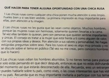 Argentine soccer association hands out advice on how to pick up Russian women