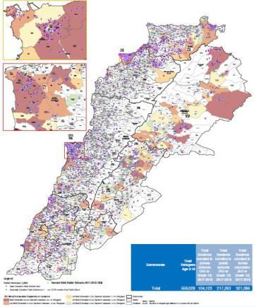 Distribución geográfica de los alumnos no libaneses matriculados en la educación formal (básica y secundaria), en el sector público y privado.