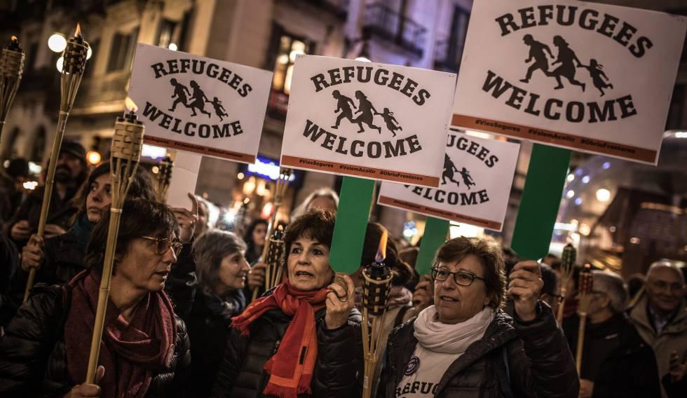 Manifestación en Barcelona por el día del migrante el 18 de diciembre de 2016.
