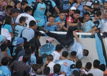 Argentina soccer fan dies after being pushed off stands