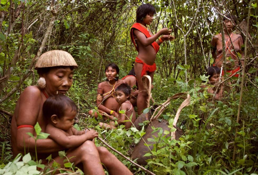 Unas mujeres y niños yanomami descansan en la selva amazónica brasileña.
