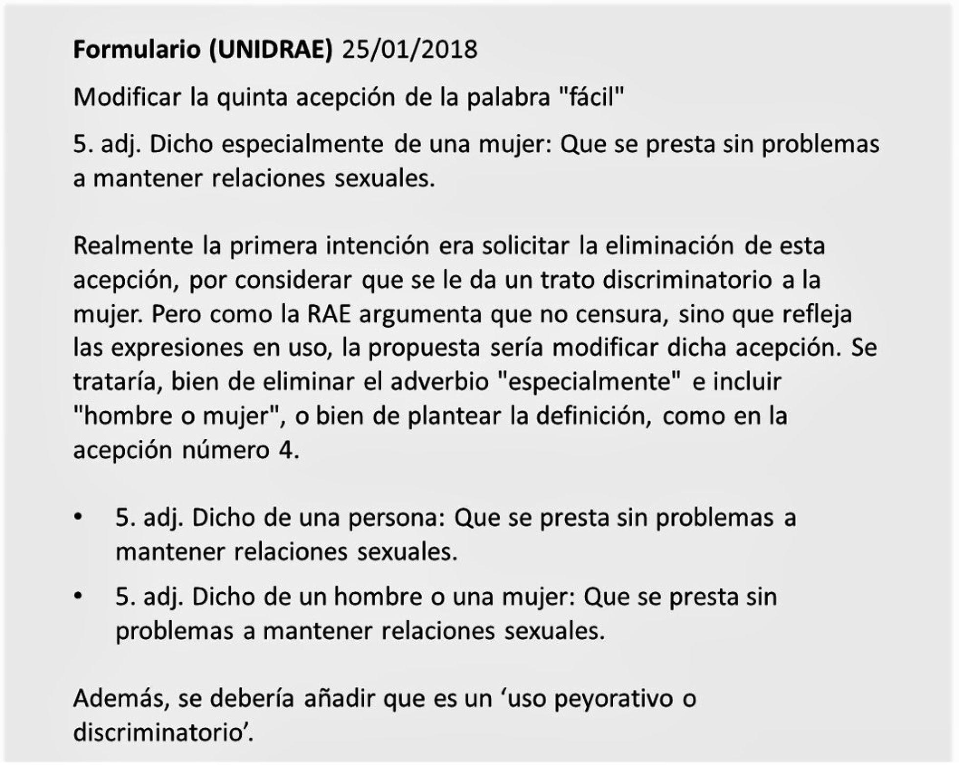 El mismo jueves 25 de enero elaboraron y cumplimentaron el formulario que aparece en la web de 'La Unidad Interactiva del Diccionario'(UNIDRAE)