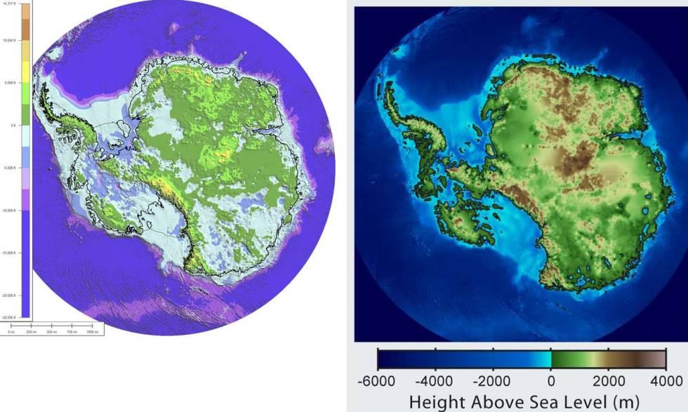 La Antártida sin hielo. El mapa de la izquierda muestra lo que pasaría si elimináramos de repente todo el hielo que cubre la Antártida. El de la derecha considera los efectos del rebote isostático y la subida del nivel del mar debida a toda la fusión del hielo.